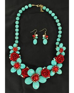 Blazin Roxx Handmade Stone Flower Necklace & Earrings Set, , hi-res