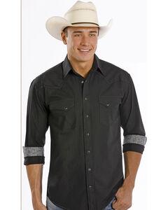 Rough Stock by Panhandle Slim Black Dobby Western Shirt, , hi-res
