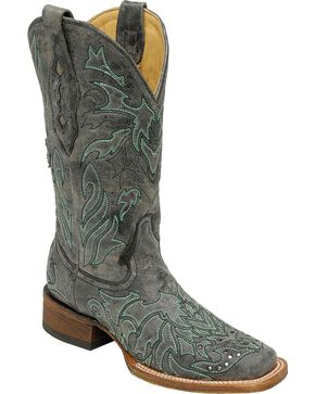 Corral Studded Cross Overlay Cowgirl Boots - Square Toe, Grey, hi-res