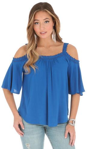 Wrangler Women's Blue Cold Shoulder Crochet Strap Top , Royal, hi-res