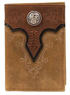 Ariat Fancy Stitched Scalloped Overlay Tri-fold Wallet, , hi-res