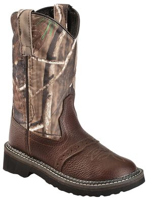 Old West Boys' Camo Tubbies Cowboy Boots - Round Toe, Oiled Rust, hi-res