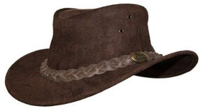 Jacaru Men's Gabba Leather Outback Hat, Brown, hi-res