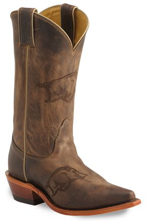 Nocona Arkansas Razorbacks College Boots - Snip Toe, Tan, hi-res
