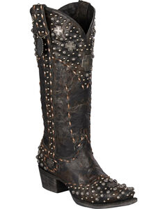 Lane for Double D Ranch Silver Trader Studded Cowgirl Boots - Snip Toe, , hi-res