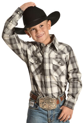 """Red Ranch """"Cowboy to The Core"""" Plaid Western Shirt , Black, hi-res"""