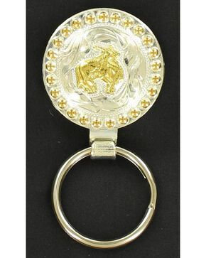 Silver & Gold-Tone Bull Rider Key Ring, Tan, hi-res