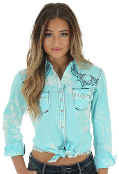 Wrangler Women's Rock 47 Turquoise Embroidered Fancy Yokes Solid Top, , hi-res