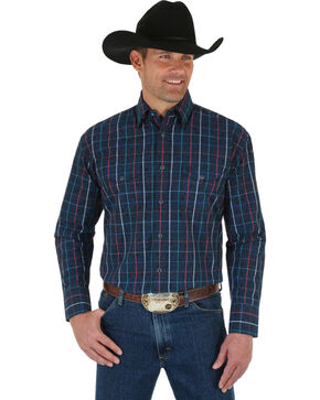 Wrangler George Strait Men's Troubadour Plaid Shirt, Black, hi-res