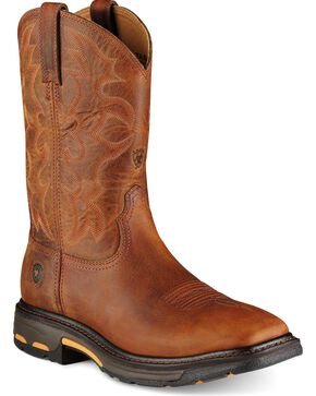 Ariat Workhog Pull-On Work Boots - Square Toe, Toast, hi-res