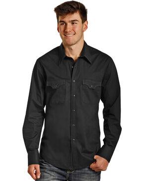 Rock & Roll Cowboy Men's Long Sleeve Stretch Poplin Solid Snap Shirt, Black, hi-res
