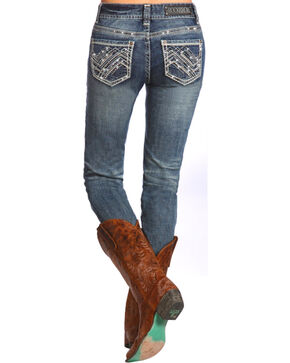 Rock & Roll Cowgirl Women's Mid Rise Skinny Jean, Indigo, hi-res