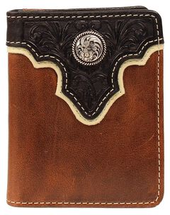 Ariat Black Tooled Overlay Concho Wallet, , hi-res