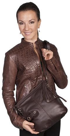 Scully Brown Leather Shoulder Bag, , hi-res