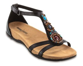 Minnetonka Bayshore Beaded Cross Sandals, Black, hi-res