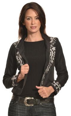 Pink Cattlelac Women's Silver Lurex Western Blazer , , hi-res