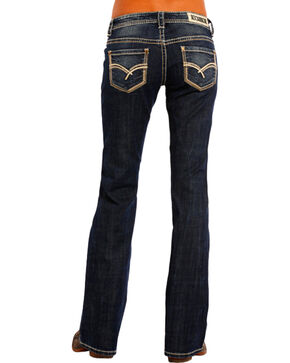 Rock & Roll Cowgirl Women's Sharp Multi-Stitch Boyfriend Jeans - Boot Cut , Indigo, hi-res
