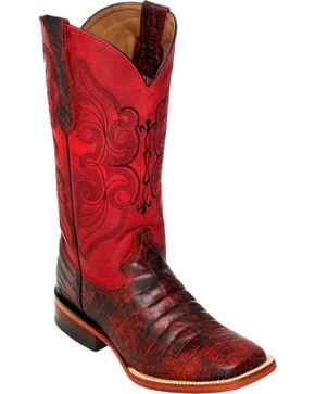 Ferrini Women's Black Cherry Belly Print Cowgirl Boots - Square Toe, Black Cherry, hi-res