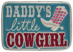 "Montana Silversmiths ""Daddy's Little Cowgirl"" Kid's Attitude Belt Buckle, Blue, hi-res"