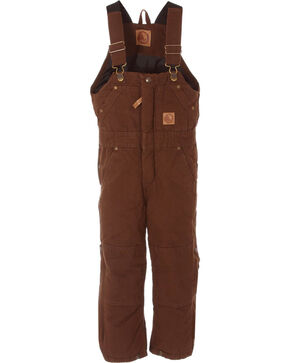 Berne Toddlers' Bark Washed Insulated Bib Overalls, Bark, hi-res
