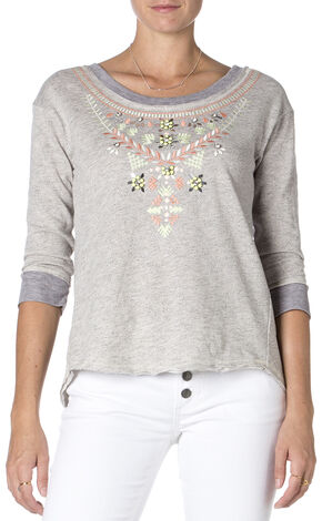 Miss Me Embroidered Grey 3/4 Sleeve Top , Hthr Grey, hi-res