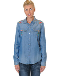 Grace in LA Women's Long Sleeve Denim Shirt with Floral Embroidery, , hi-res