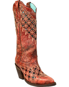 Corral Women's Red Cutout and Embroidered Boots - Medium Toe , , hi-res