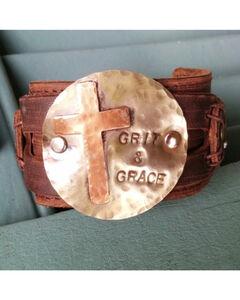 Jewelry Junkie Grit & Grace Distressed Leather Cuff Bracelet, , hi-res