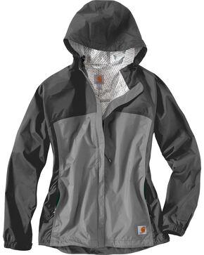 Carhartt Women's Grey Mountrail Waterproof Rain Jacket, Charcoal Grey, hi-res
