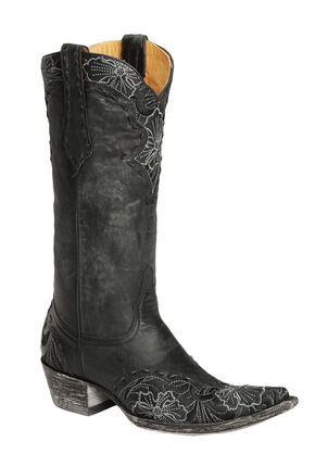 Old Gringo Erin Floral Embroidered & Laced Cowgirl Boots - Pointed Toe, Black, hi-res