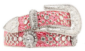 Blazin Roxx Pink Floral Tooled Embellished Belt, Hot Pink, hi-res
