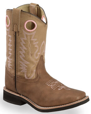 Swift Creek Youth Girls' Tan Cowboy Boots - Square Toe, Brown, hi-res