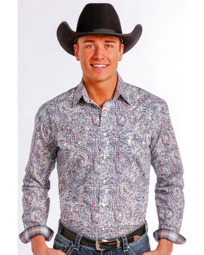 Rough Stock by Panhandle Slim Multicolor Paisley Western Snap Shirt , Multi, hi-res
