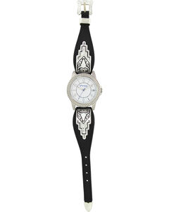 Montana Silversmiths Black Leather Buffalo Skull Watch, , hi-res
