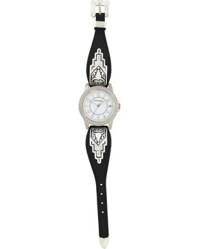 Montana Silversmiths Black Leather Buffalo Skull Watch, Silver, hi-res
