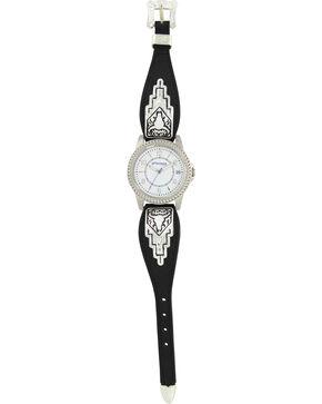 Montana Silversmiths Black Leather Buffalo Skull Watch, Silver, hi-res