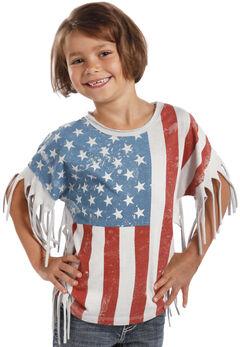 Rock & Roll Cowgirl Girl's Americana Fringe Tee, Print, hi-res