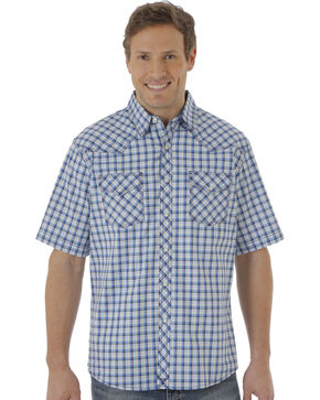Wrangler 20X Men's Blue & White Plaid Two Pocket Short Sleeve Shirt , White, hi-res