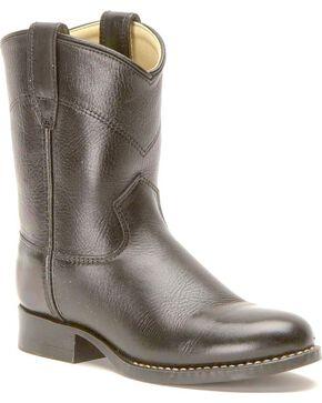 Old West Toddler Boys' Black Leather Cowboy Boots - Round Toe, Black, hi-res