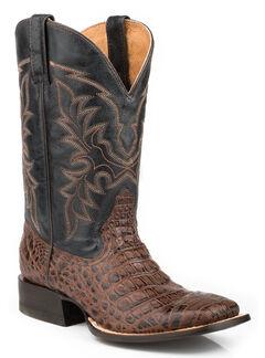 Roper Faux Caiman Belly Cowboy Boots - Square Toe, Dark Brown, hi-res