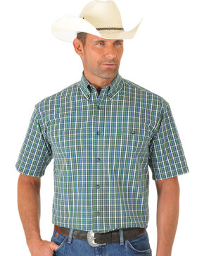 Wrangler George Strait Light Green and Blue Plaid Short Sleeve Shirt, Multi, hi-res