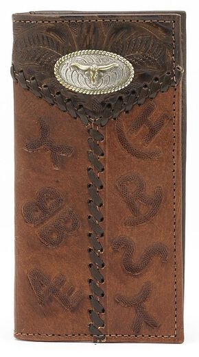 American West Branding Steer Concho Rodeo Wallet, Brown, hi-res