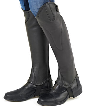 Ovation Women's TURIN Leather Half Chaps, Black, hi-res