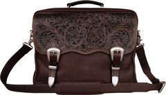 Smooth Leather with Floral Tooling Briefcase, , hi-res