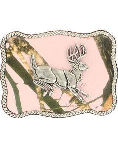 Nocona Women's Jumping Buck Pink Mossy Oak Buckle, , hi-res