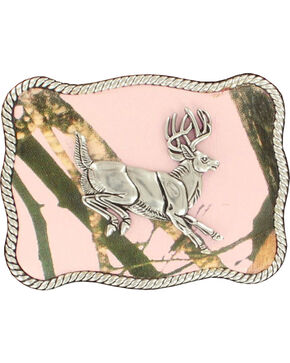 Nocona Women's Jumping Buck Pink Mossy Oak Buckle, Pink, hi-res