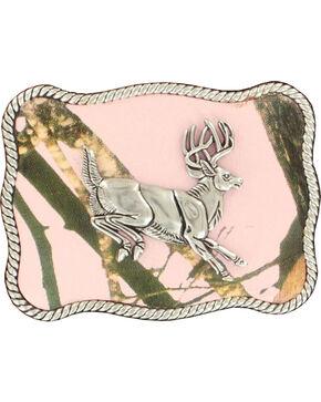 Nocona Women's Jumping Buck Pink Mossy Oak Buckle, Pink, hi-res