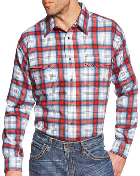 Ariat Men's Light Blue and Red Plaid Ardmore FR Snap Shirt, Light Blue, hi-res