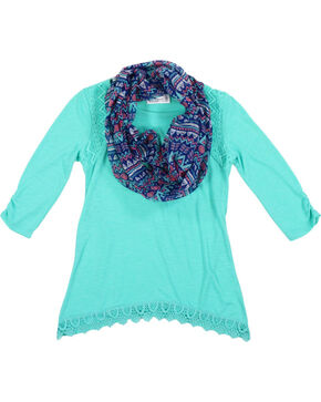 Shyanne Girls' Lace Accent Long Sleeve Shirt with Scarf, Turquoise, hi-res