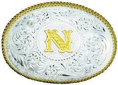Montana Silversmiths Engraved Initial N Western Belt Buckle, , hi-res